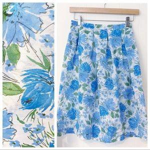 Vintage 50's Sheer Floral Handmade Midi Skirt